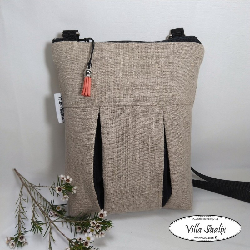 Pilkahdus-laukku pellava/musta