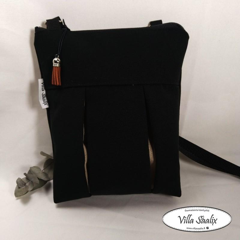 Pilkahdus-laukku Musta pellavapilkahdus
