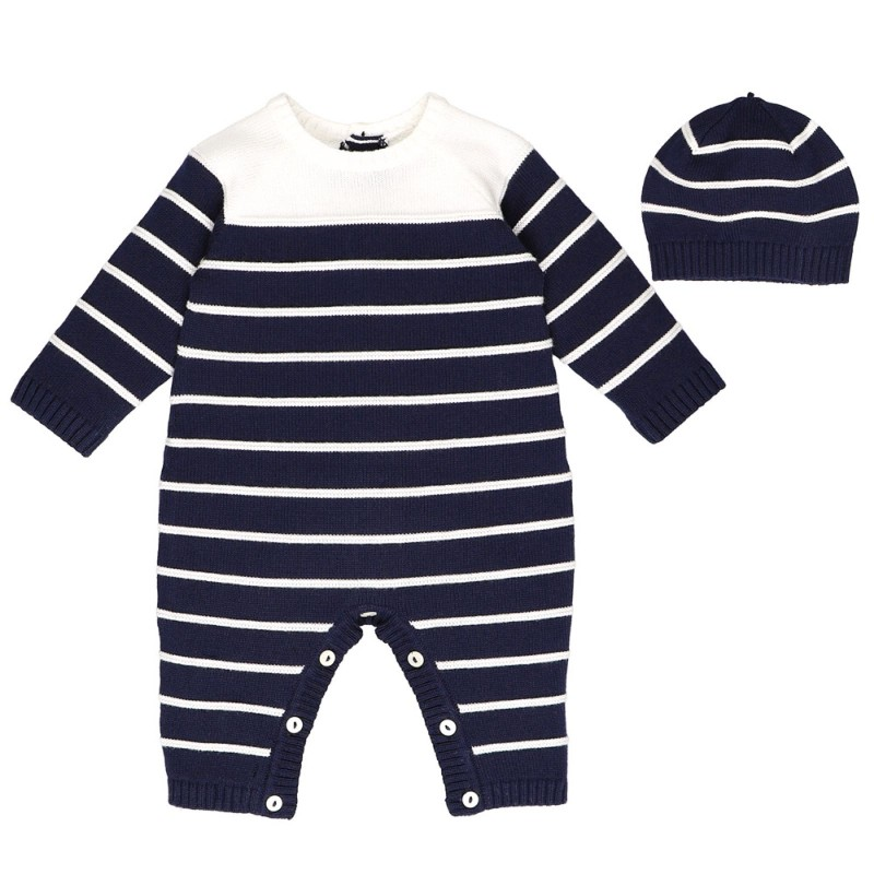 Emile et Rose Reuban Navy Knitted Romper with Hat