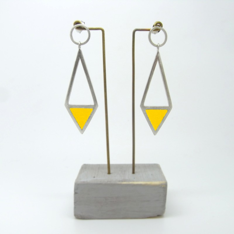 Diamond Shape Drop Earrings Yellow