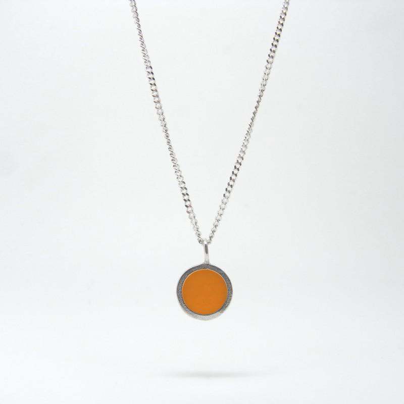 SALE - Small Coloured Dot Necklace Orange