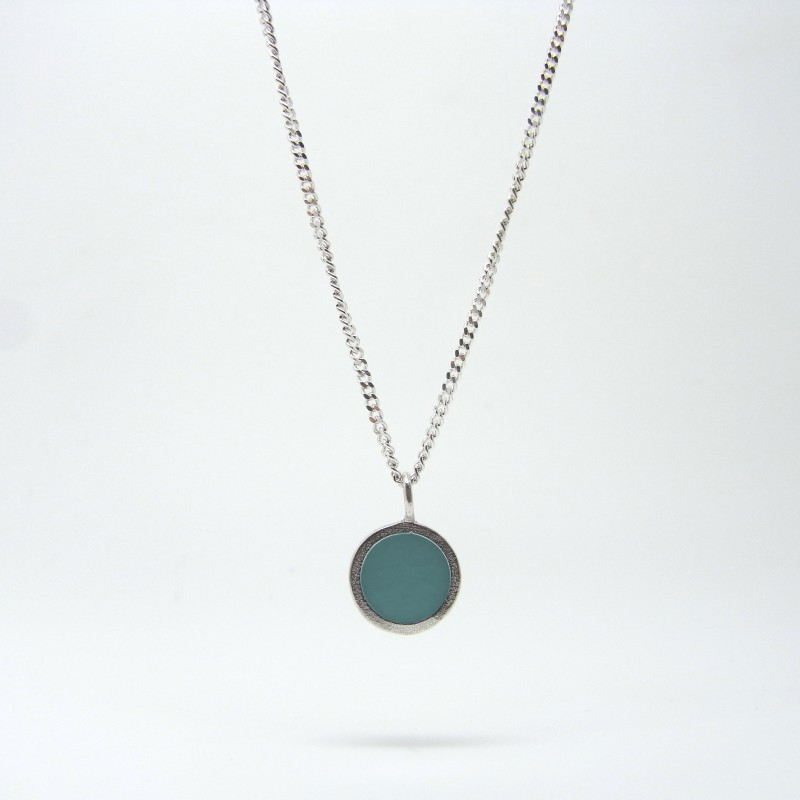Small Coloured Dot Necklace Aquamarine