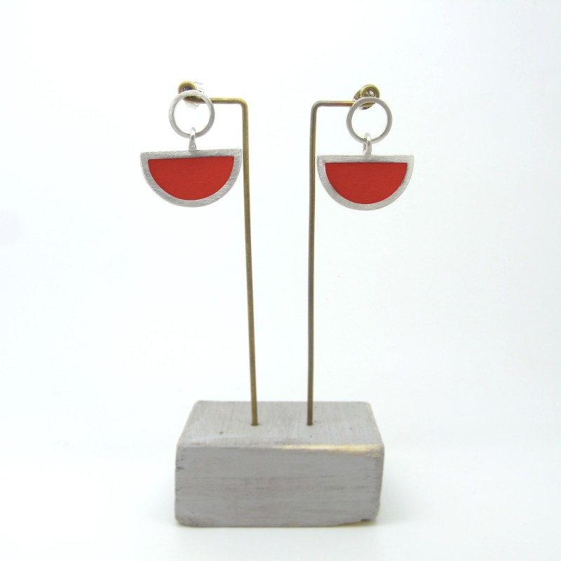 Semi Circle with Round Stud Earrings Red