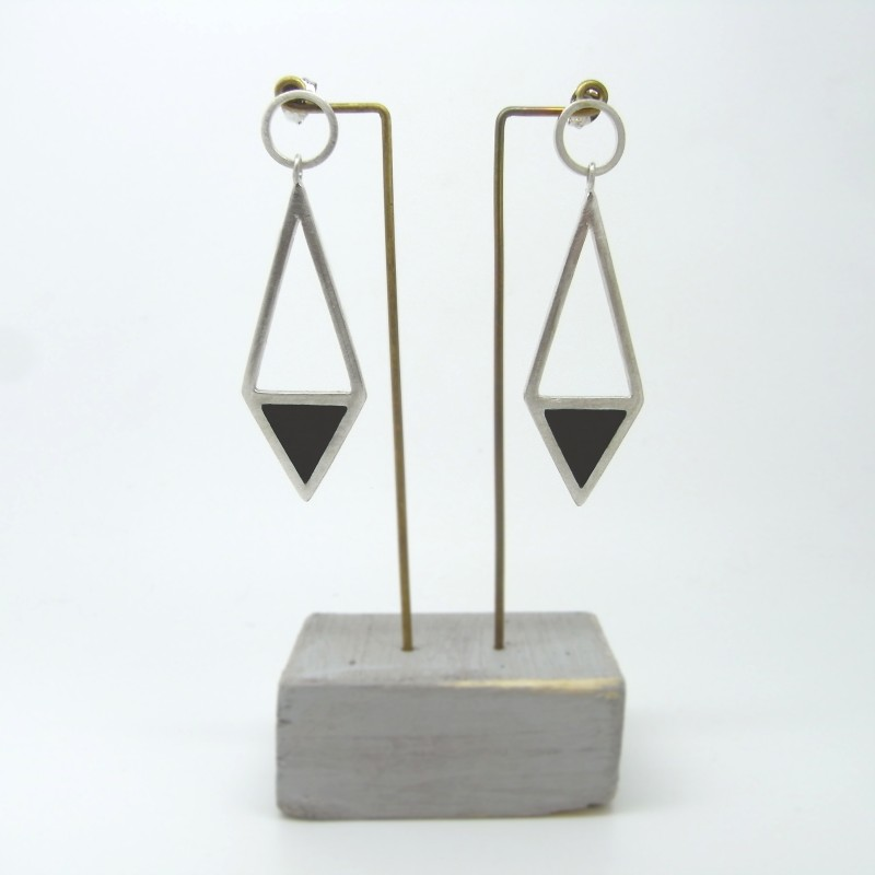 Diamond Shape Drop Earrings Black