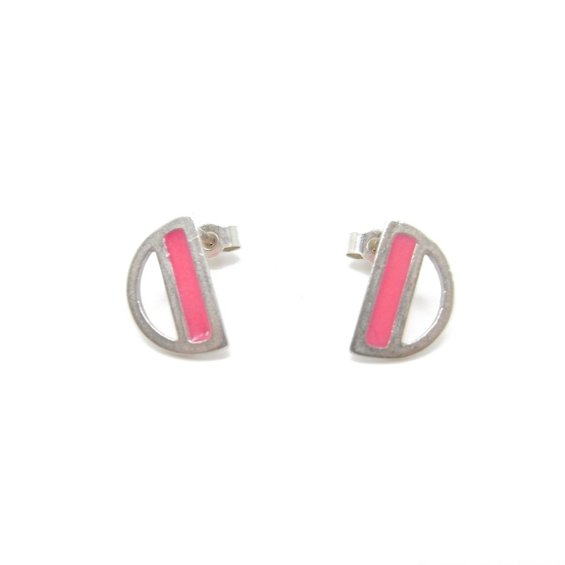 SALE - Sterling Silver Pink Resin Studs (vertical)
