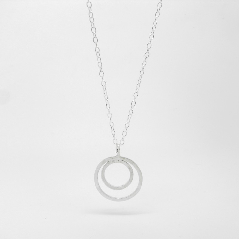 SALE - Concentric Circle Silver Necklace