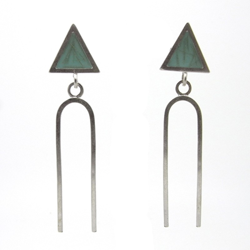 Blue Triangle Fork Earrings