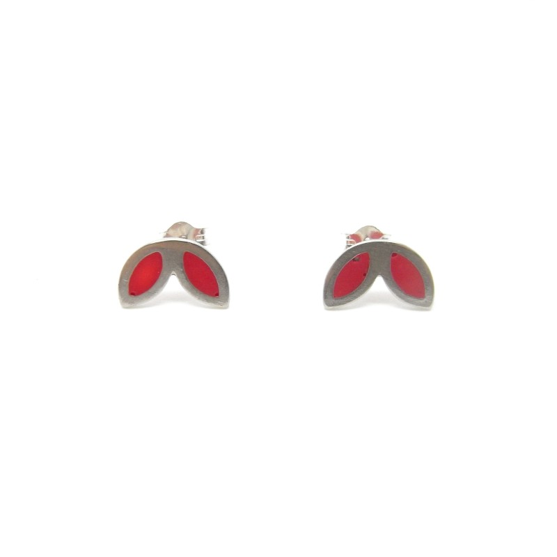 SALE - Sterling Silver Red Resin Studs