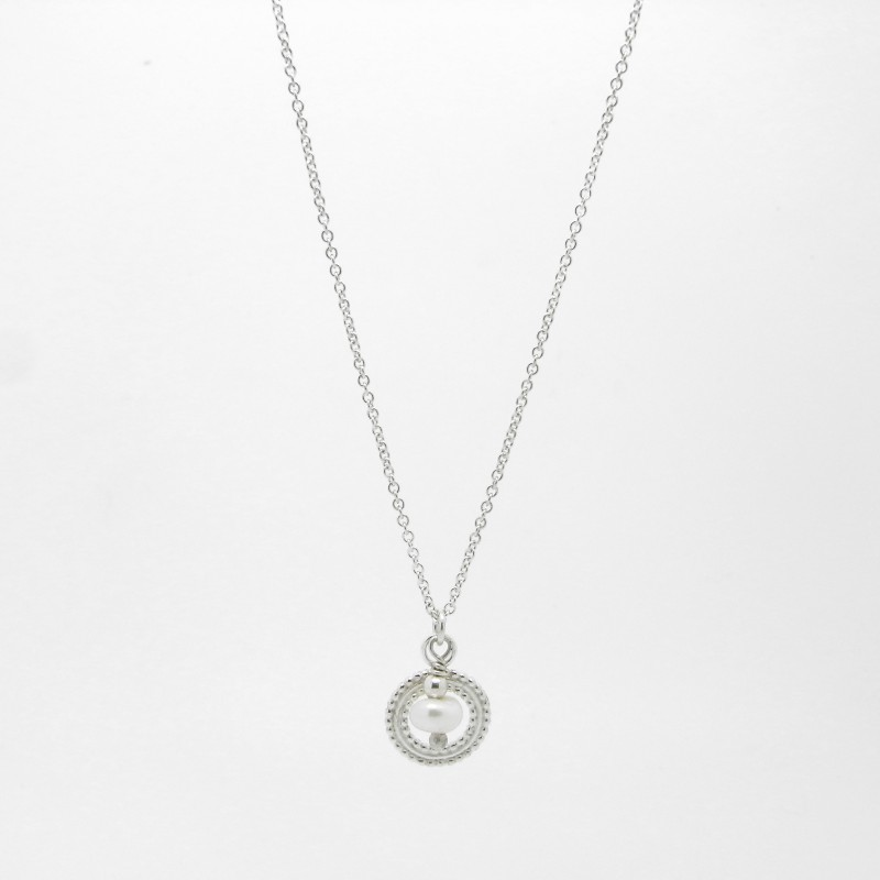 SALE - Beaded Silver Pendant Necklace with Pearl