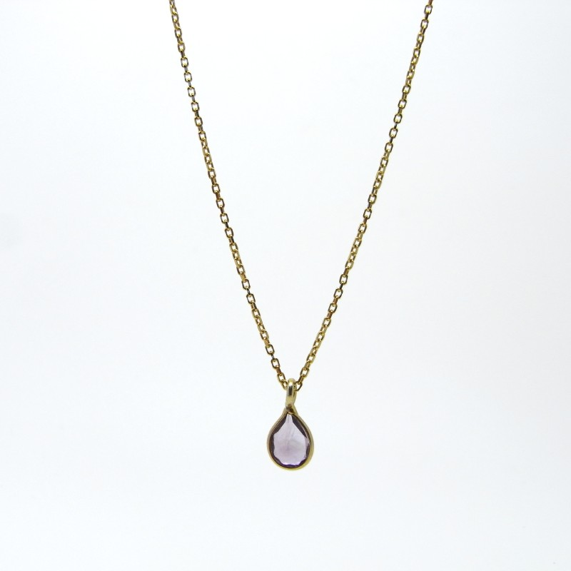 SALE - Amethyst Necklace Gold Plated Silver