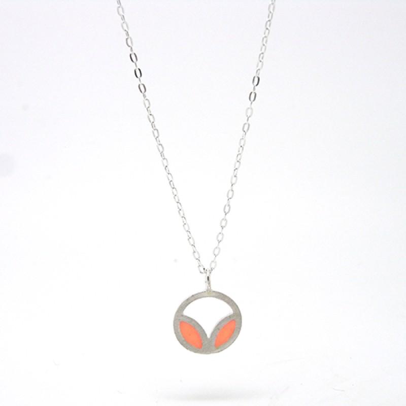 Peach / Coral Enamel Necklace