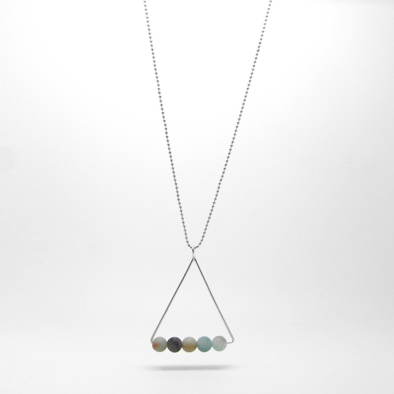 SALE - Long Amazonite Triangle Necklace
