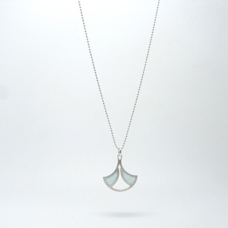 Small Fan Necklace Blue