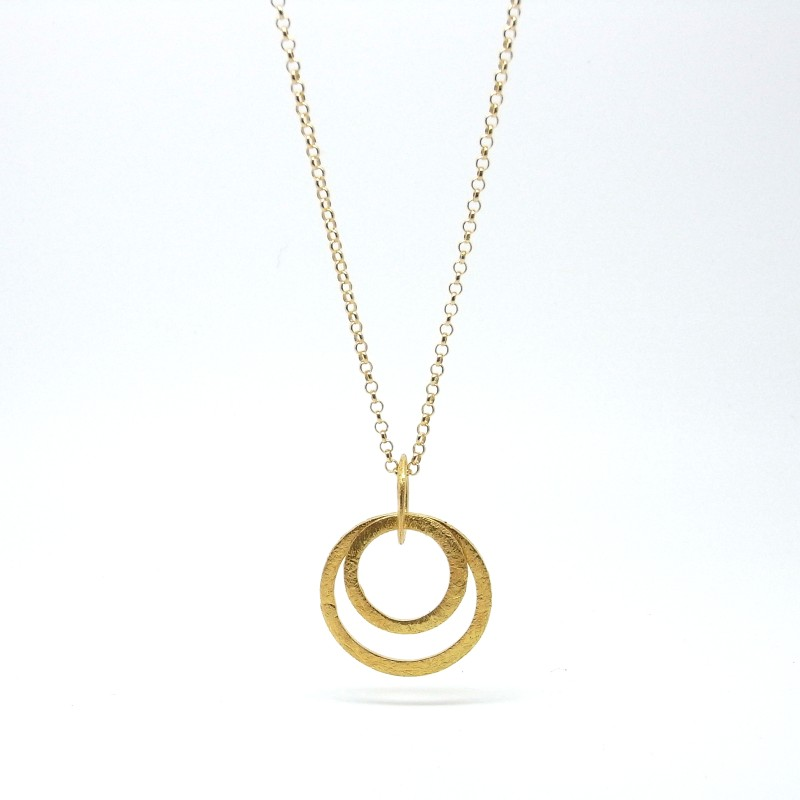 Concentric Circle Necklace (Gold Plate)