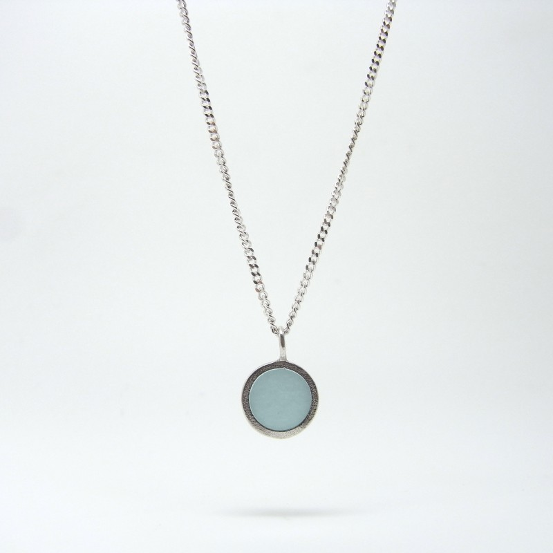 Small Coloured Dot Necklace Sky Blue
