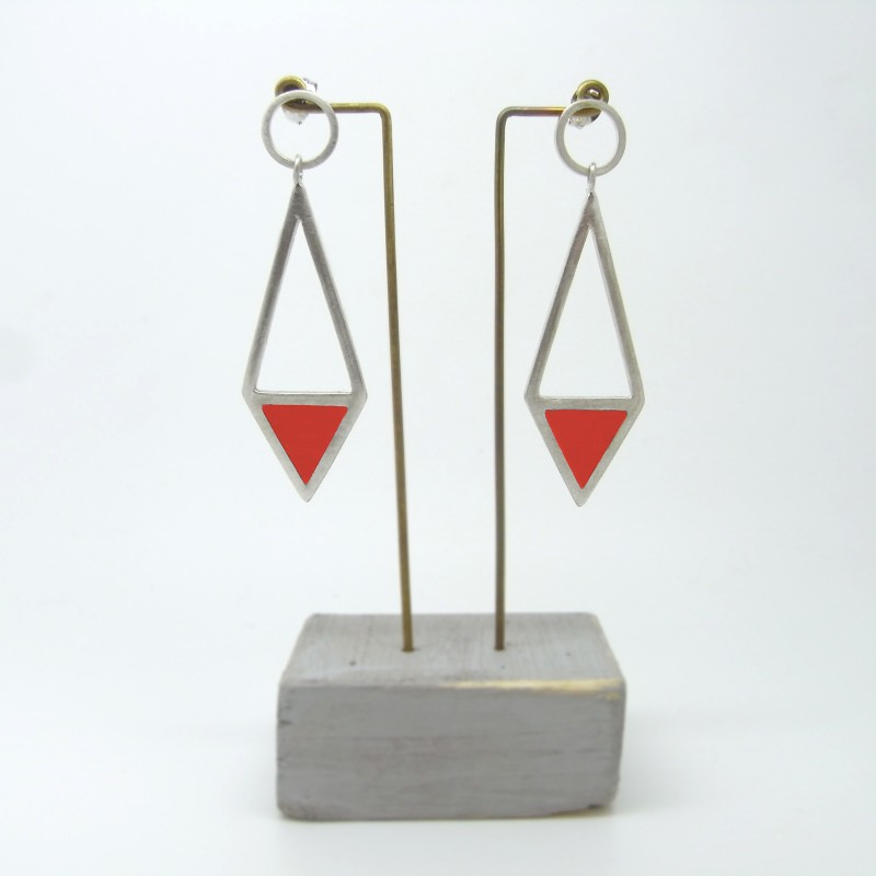 Diamond Shape Drop Earrings Red