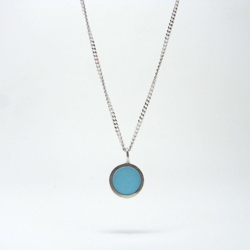Small Coloured Dot Necklace Baby Blue