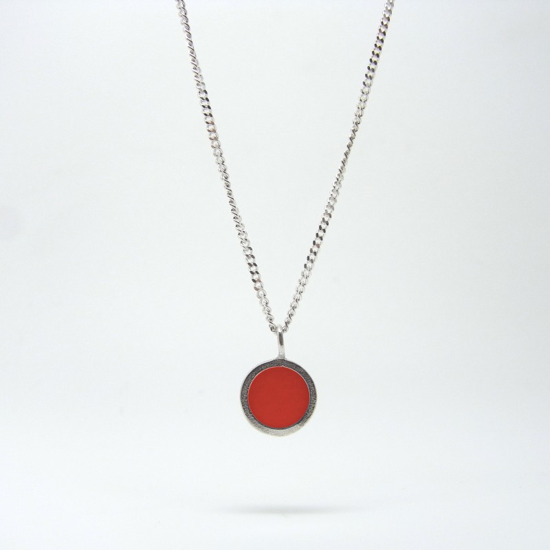 Small Coloured Dot Necklace Red