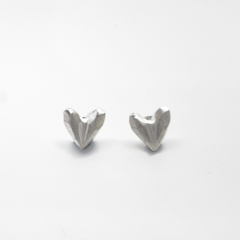 Carved Heart Studs - Small