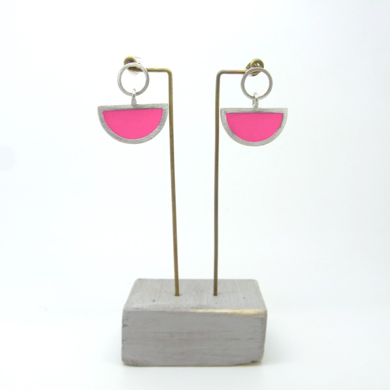 Semi Circle with Round Stud Earrings Hot Pink