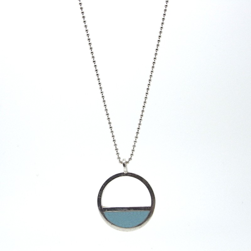 Medium Weight Enamel Necklace (light blue)