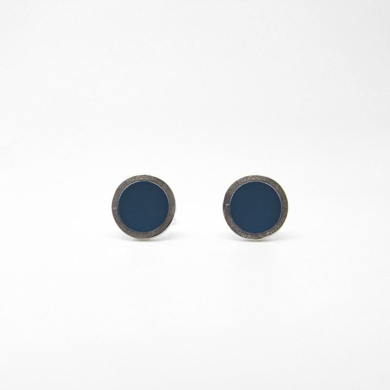 Small Coloured Dot Studs Ocean Blue