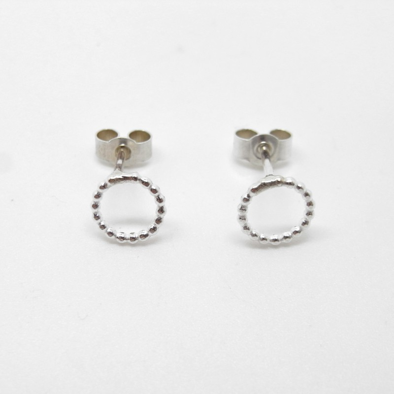 Small Silver Beaded Circle Studs