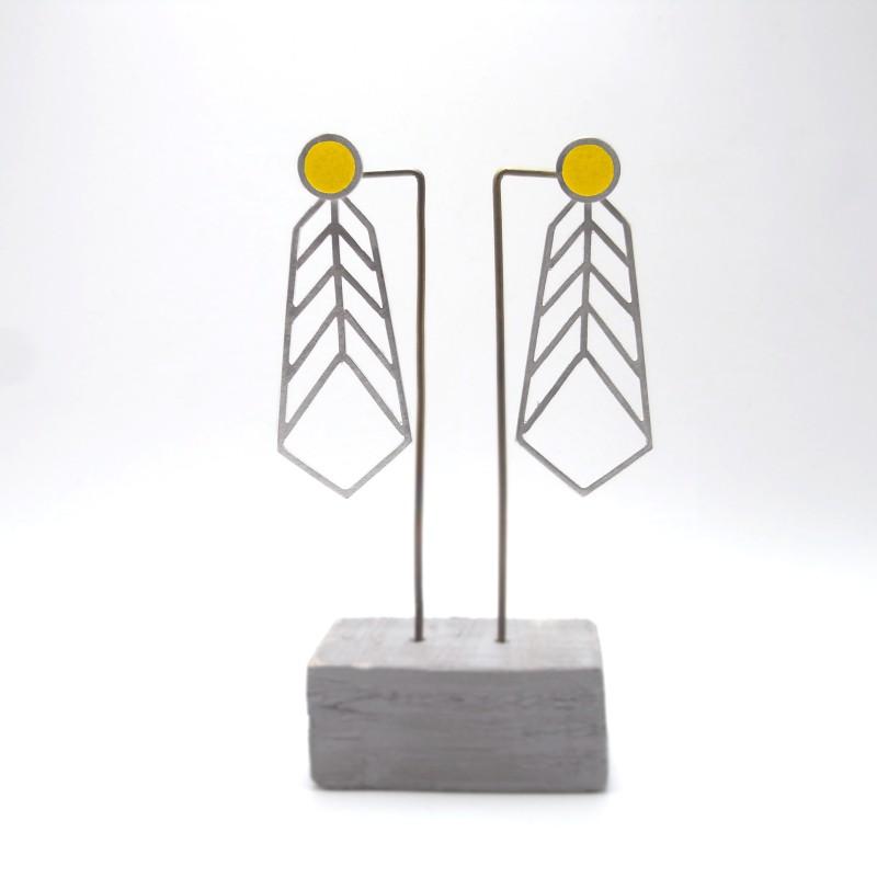 Stud and Chevron Earrings Yellow