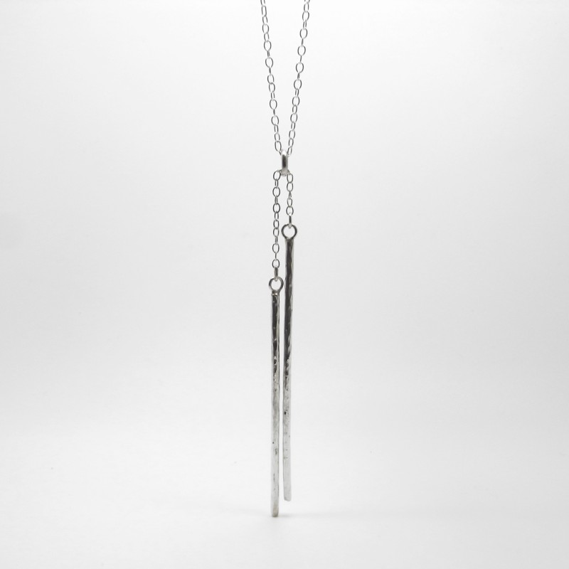 Long Silver Bar Drop Necklace