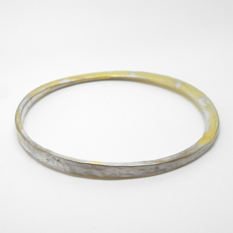 Hand-forged Silver and 24ct Gold Bangle