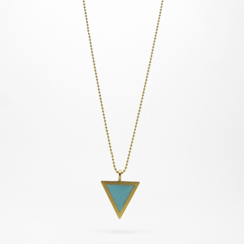 Triangle Necklace Cyan Blue Gold Plate