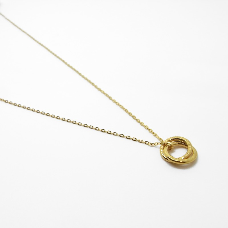Two Ring Necklace - Gold Plater