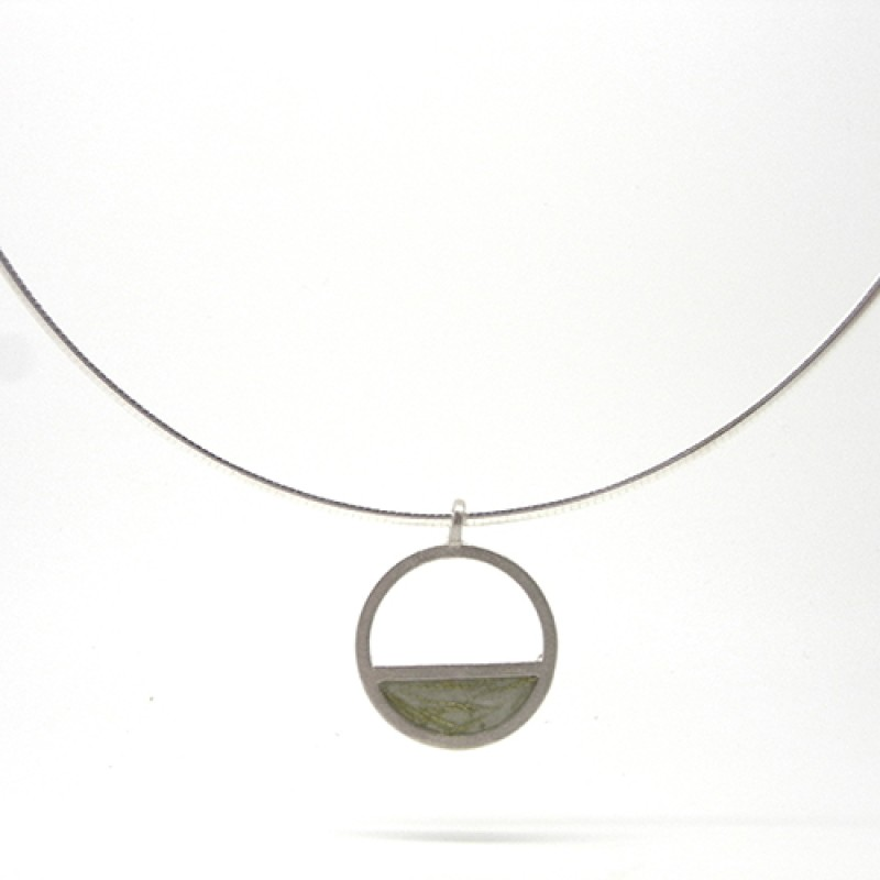 Green Enamel Gold Fleck Cable Necklace