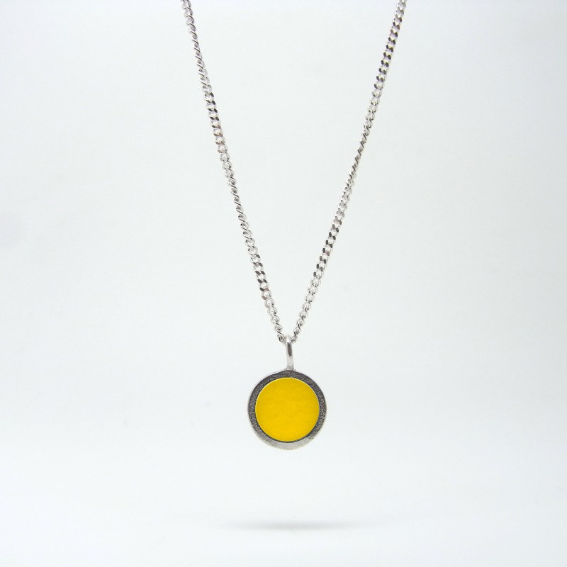 Small Coloured Dot Necklace Yellow