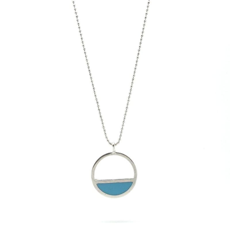 Medium Weight Enamel Necklace - Medium Blue