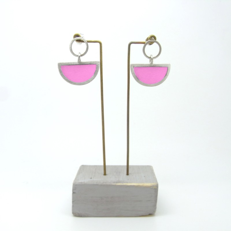 Semi Circle with Round Stud Earrings Party Pink