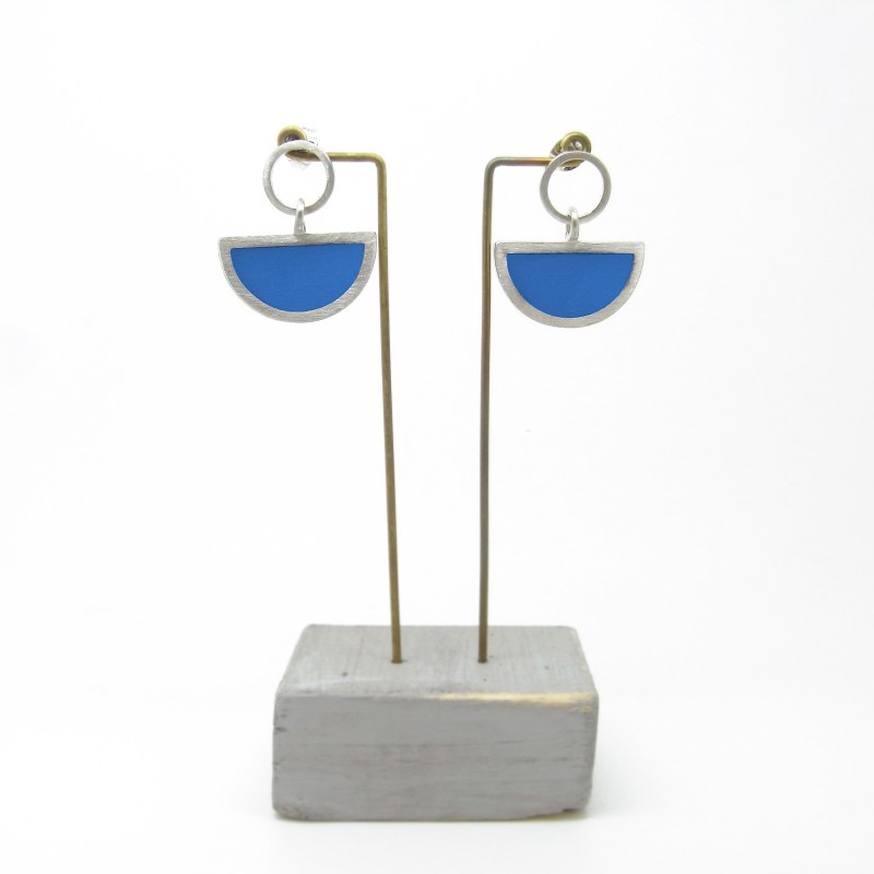 Semi Circle with Round Stud Earrings Blue