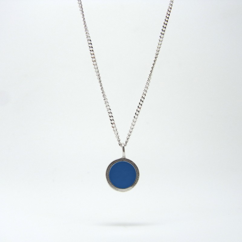 Small Coloured Dot Necklace Bright Blue