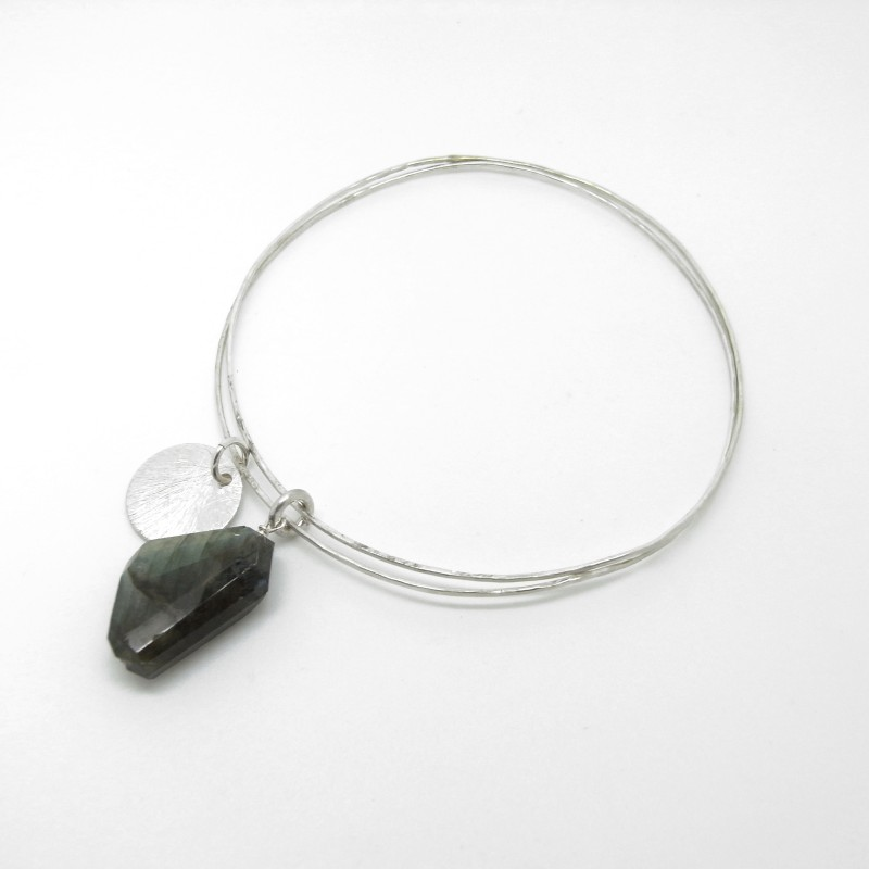 SALE - Double Bangle with Labradorite (medium)