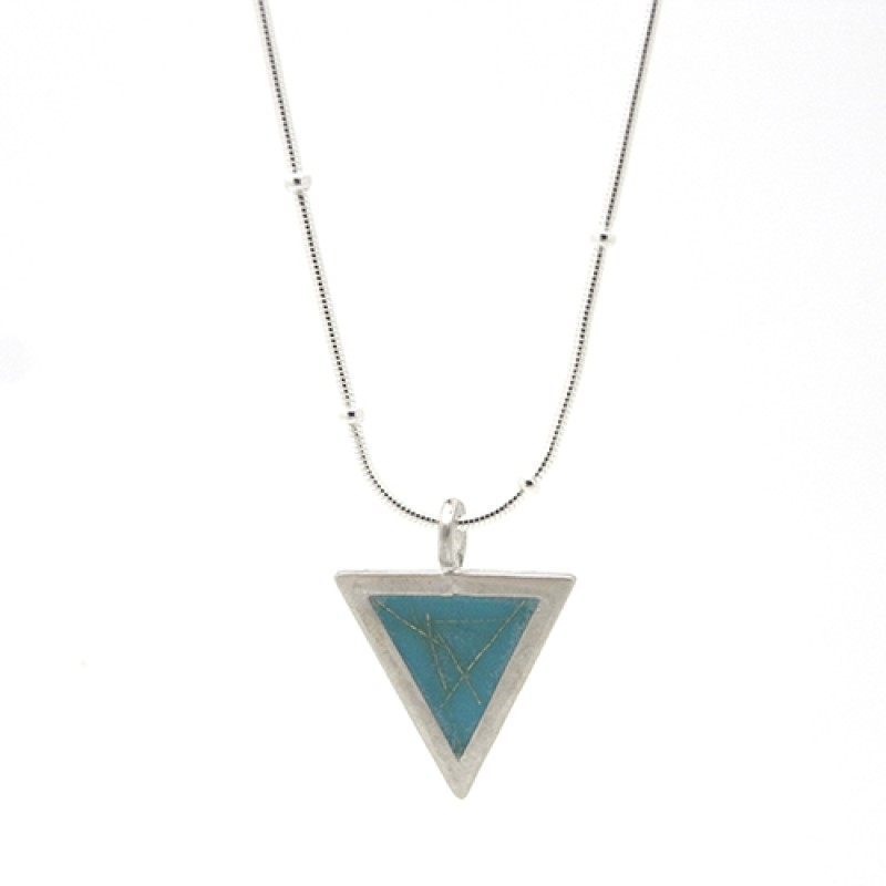 Blue Triangle with Gold Fleck Necklace