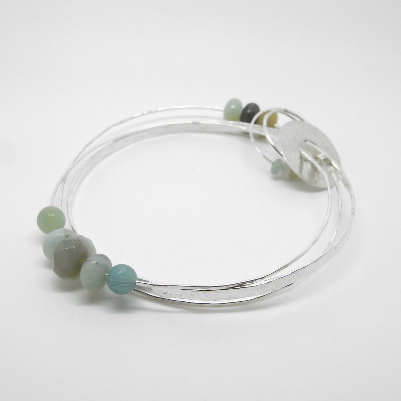 Triple Bangle with Amazonite (medium)