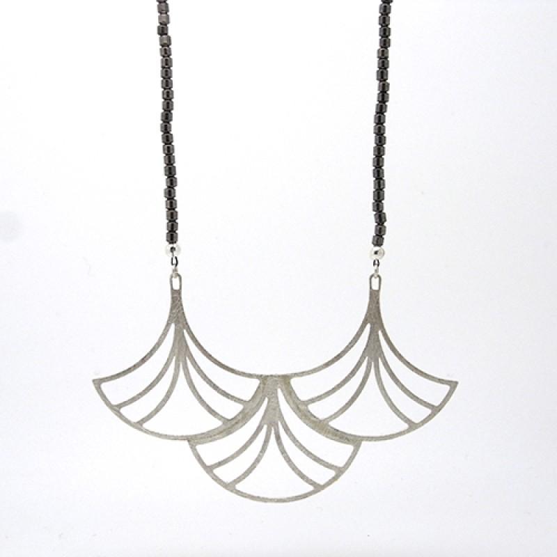 Large Deco Fan Hematite Necklace