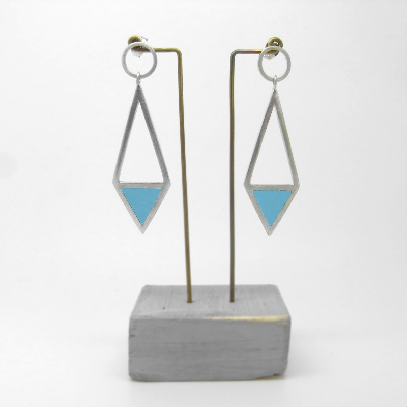 Diamond Shape Drop Earrings Blue