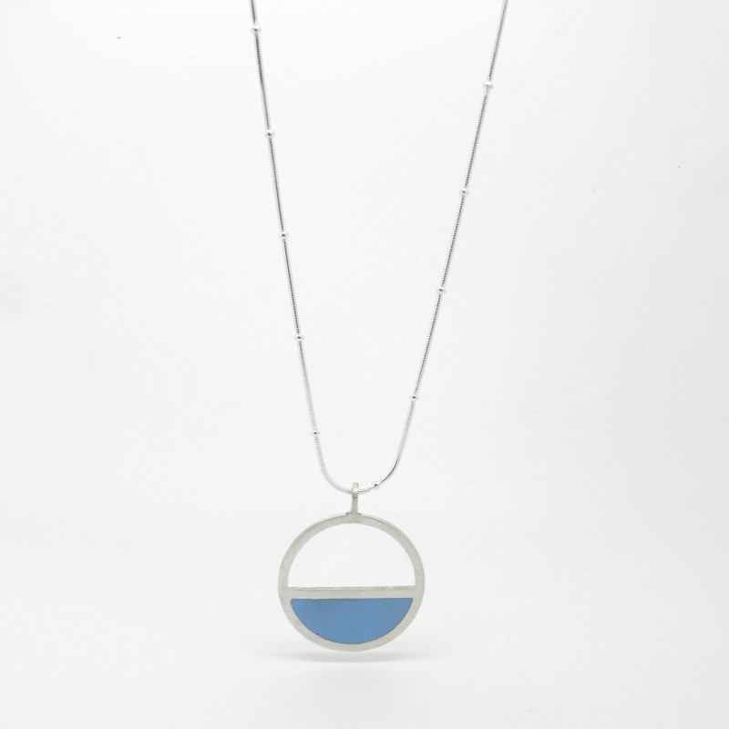 Silver & Resin Semi Circle Necklace Large