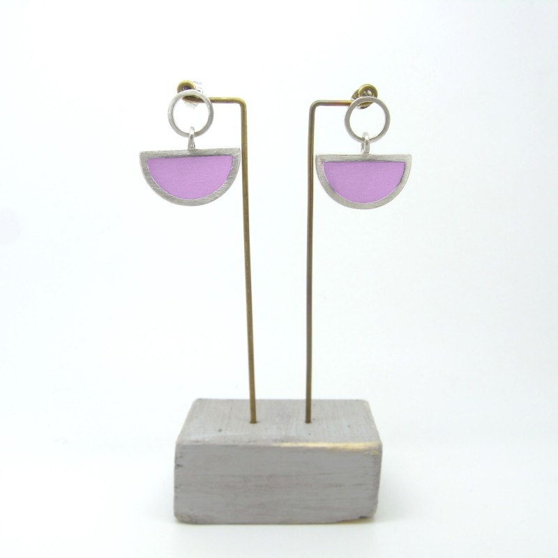 Semi Circle with Round Stud Earrings Orchid