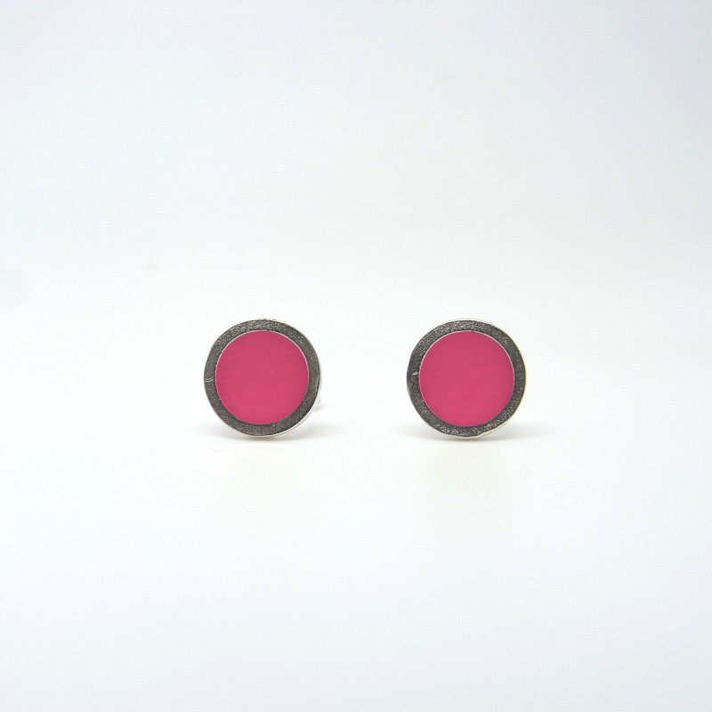 Small Coloured Dot Studs Bright Pink