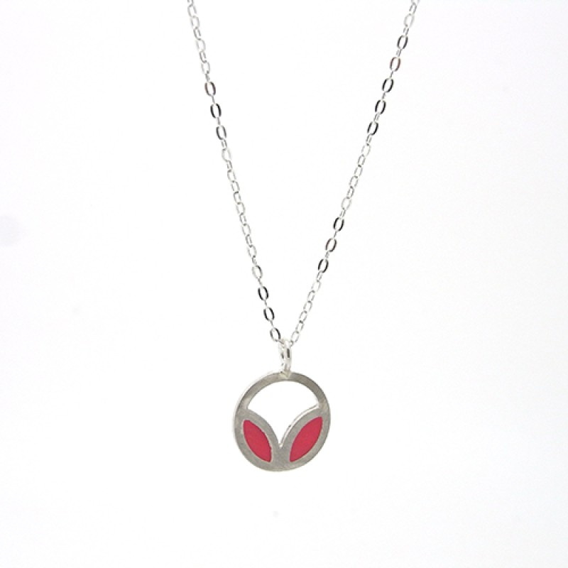 Cerise / Pink Enamel Necklace