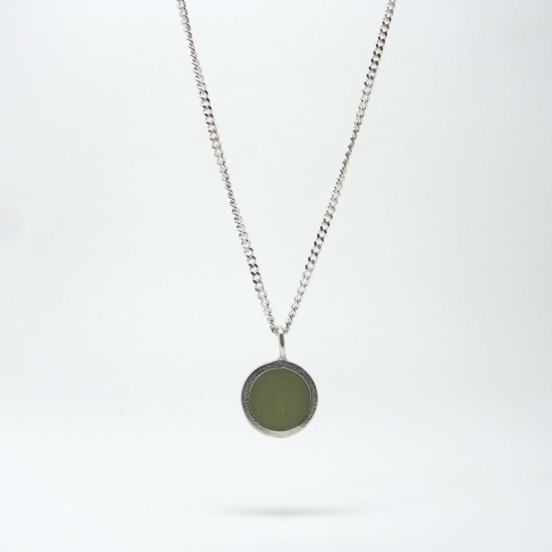Small Coloured Dot Necklace Khaki Green