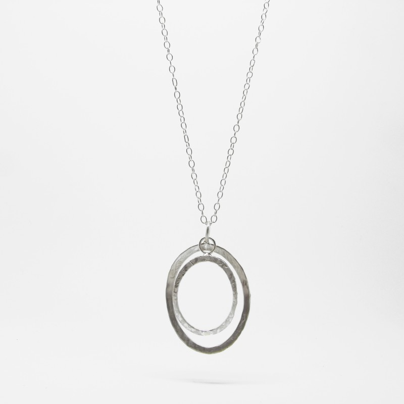 Long Two Ring Pebble Necklace