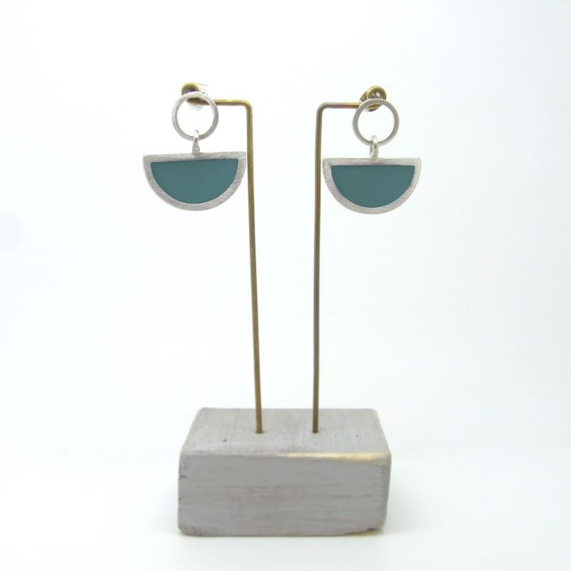 Semi Circle with Round Stud Earrings Aquamarine